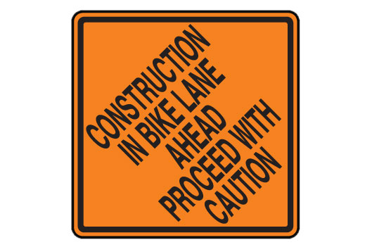 Construction In Bike Lane Ahead Proceed With Caution