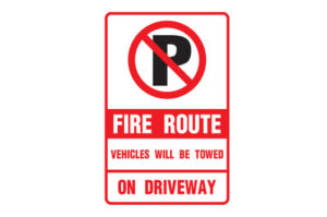 Fire Route Vehicles Will Be Towed On The Drive Way